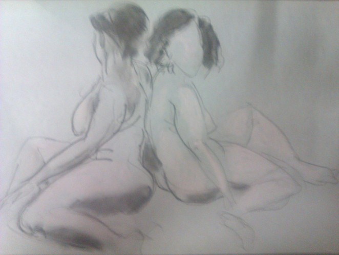 The same pose in charcoal and pencil by Rade