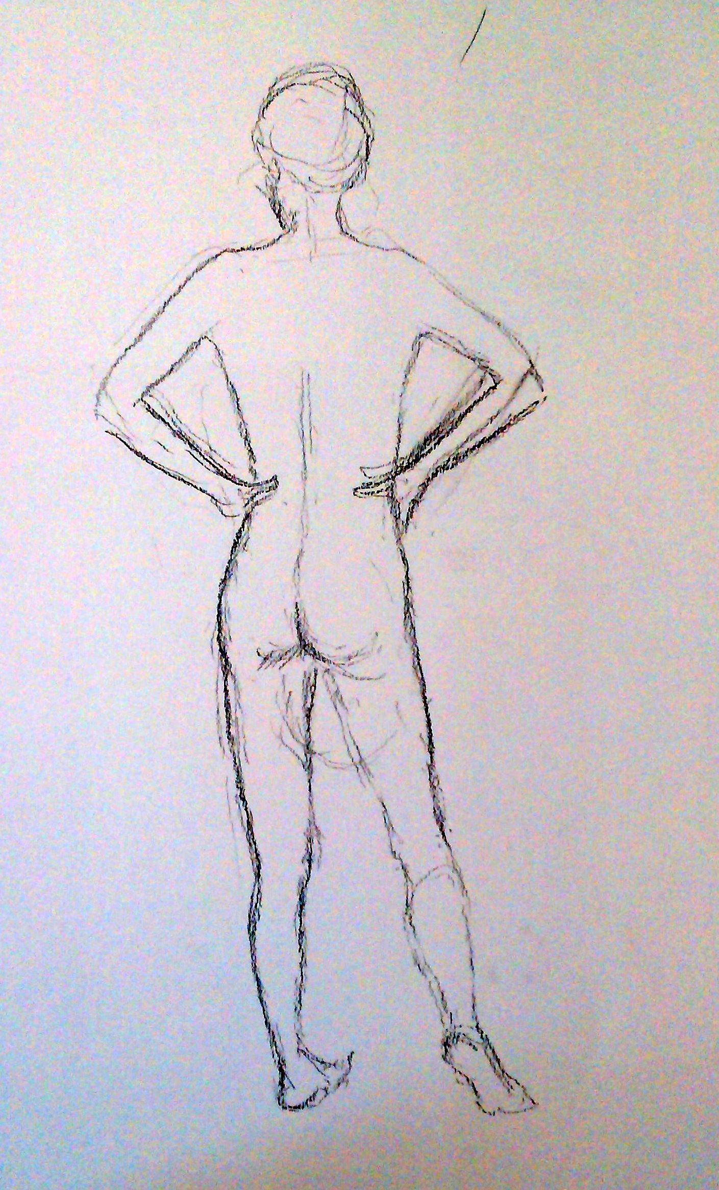 By the 3rd pose Edna has revealed her excitement at confronting an able bodied form, and how it is helping her understand her condition. I decide a spine view is in order