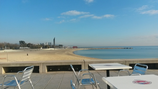 a Barcelona beach in December