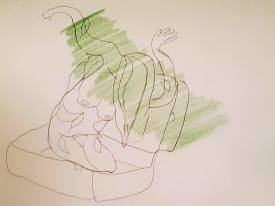 Drawing by Frances Felgate. Here I emerge from a suitcase, as if growing like a tree